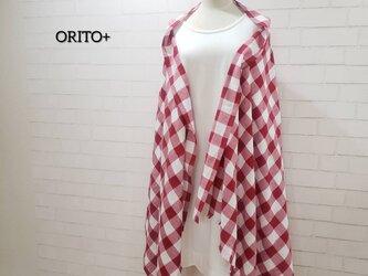 【1点限り❗】3wayマフラーショール*赤白ブロックチェック*播州織の画像