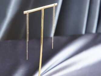 【K18YG】Double Bar Ear Thread Earringsの画像