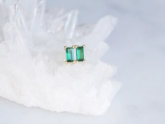 【Sterling silver 925】Rectangle Emerald CZ Tiny Stud Earringsの画像