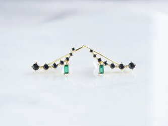 【Sterling silver 925】Black CZ Ear Climberの画像