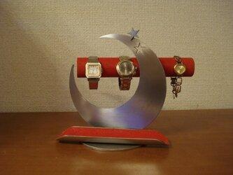 三日月から★が飛び出すかわいいレッド三日月腕時計スタンド 131010の画像