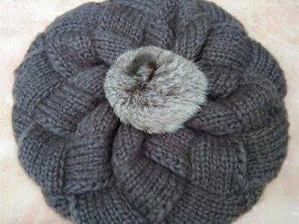 【Lady's】ほっこりあたたか冬帽子 濃いグレーの画像