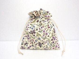 可憐な花いっぱい(パープル) 巾着の画像