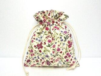 可憐な花いっぱい(ピンク) 巾着の画像