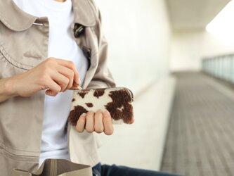 ハラコのポーチ コインケース 小物入れ 姫路産シュリンクレザー ブラウンapo-12nchの画像