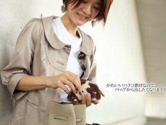 ハラコのポーチ コインケース 小物入れ 姫路産シュリンクレザー キャメルapo-12nchの画像