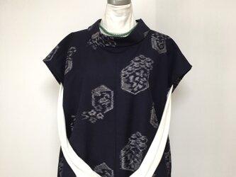 久留米絣ウール フレンチ袖トップス  M〜ML 着物リメイクの画像