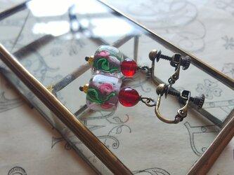 ヴィンテージ SquareーPink薔薇/Dark-Ruby イヤリングの画像