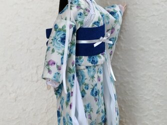 「秘密のブルーローズ」27cmドール着物の画像