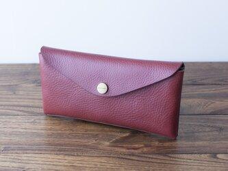 イタリア製牛革のコンパクトな長財布3  /   ワイン※受注製作の画像