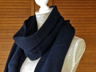 播州織×藍染マフラー(一枚物/巾90cm)/濃の画像