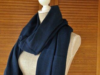 播州織×藍染マフラー(一枚物/巾90cm)/淡の画像