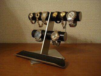 腕時計 飾る 腕時計スタンド ブラック丸パイプ6~8本掛け腕時計スタンドロングトレイバージョンの画像