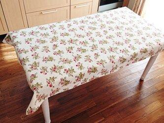 薔薇のcottonテーブルクロス  175cm×108cmの画像