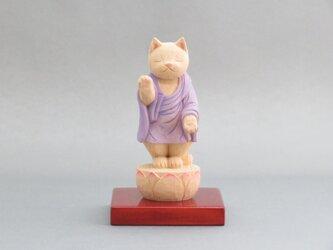 木彫り 立ち袈裟を着た阿弥陀猫 猫仏1932の画像