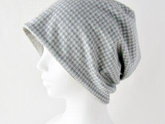 ゆるいリバーシブル帽子 ライトグレーチェック ベージュまだら(CSR-013-GCB)の画像