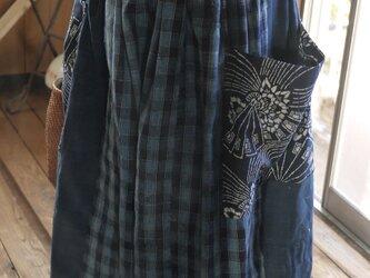 古布チェックワイドスカートパンツの画像