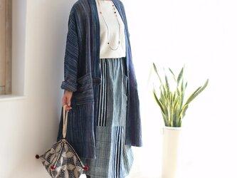 手織り綿のワンボタンドルマンコート【ブルーミックス】の画像