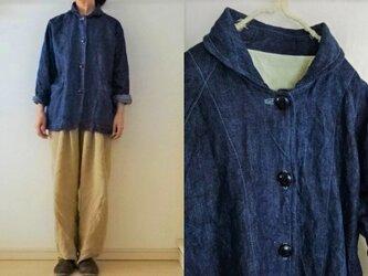 【受注制作】濃ブルー/インディゴリネンデニム  丸襟カバーオールの画像