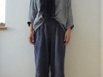【完成品】黒 甘織りリネン 大判ストールの画像