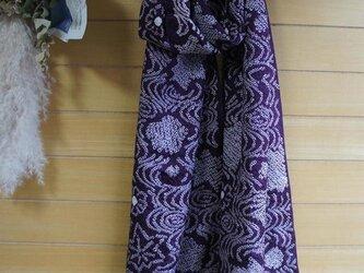 紫の絞りの羽織から  ストール 着物リメイクの画像