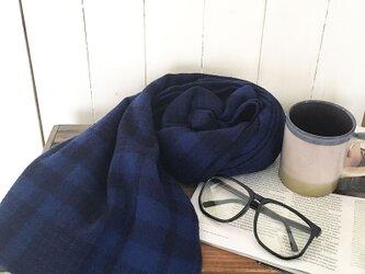 #182 大きめ ネイビ ブルー チェック ウール100% 良品質 フランス タグ 秋 冬 ストール ショール♪の画像