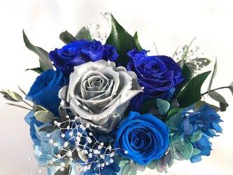 プリザーブドフラワー幸福の青い薔薇とシルバーのローズの魔法の枯れないお花【リボンラッピング付き】の画像