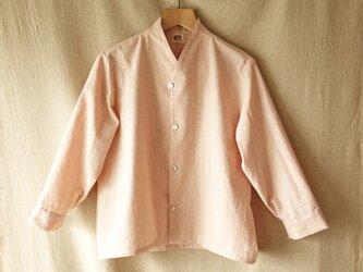 綿yシャツジャケット長袖(杢桜) unisex tall S/M※受注制作の画像