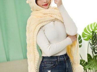 手編み オシャレ帽子+マフラー  薄ベージュの画像