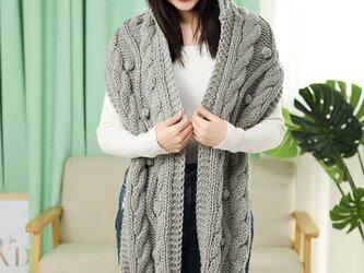 手編み オシャレ帽子+マフラー  グレーの画像