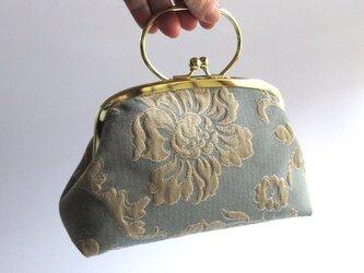 がま口型ポーチバッグ・膨れ織(イタリア製)の画像
