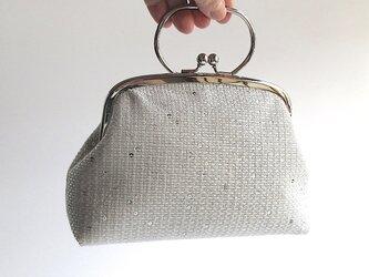 がま口型ポーチバッグ(+αサイズ)・スパンコール生地(ドイツ製)の画像