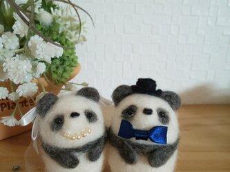 つぶらな瞳のほんわかパンダさん ラブラブカップル ウェルカムドール 羊毛フェルトの画像