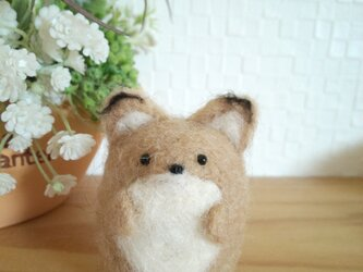 つぶらな瞳の優しいキツネさん 羊毛フェルトの画像
