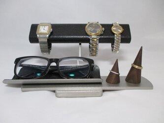 Xmasプレゼントに!だ円パイプブラック腕時計4本掛け、スマホ、めがね、アクセサリー収納スタンド ak-designの画像