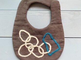 シンプル刺繍スタイ( shapes / チャコール )の画像