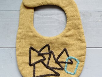 シンプル刺繍スタイ( shapes / マスタード )の画像