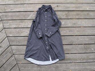 『warm black』 shirt onepiece  播州織 シャツワンピースの画像
