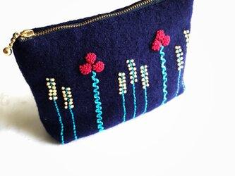 ウールの花ポーチ(青)の画像