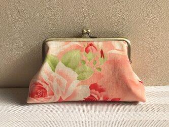がまぐち・角型 大  モスリン生地のサーモンピンク薔薇柄 ★の画像