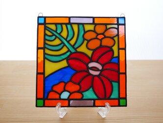 ステンドグラス ミニパネル 南国の花R 15cmの画像