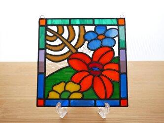 ステンドグラス ミニパネル 南国の花B 15cmの画像