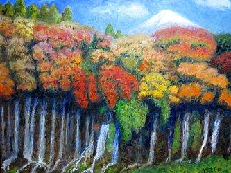 白糸の滝と富士の画像