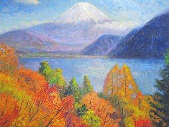 紅葉と本栖湖の画像