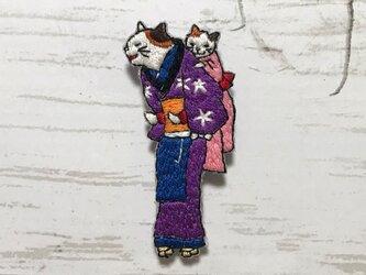 手刺繍浮世絵ブローチ*歌川国政「猫のそばや」よりの画像