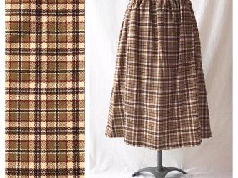 75cm丈:あったかベーシックなレクタングルスカート(タータンチェック:ベージュ)の画像