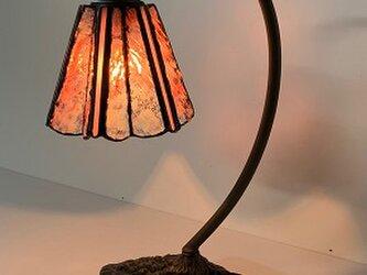 「グースネックのランプ・ピンク」ステンドグラス、ステンドグラスランプ、照明の画像
