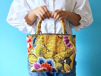最高級 和柄ボタニカル 唐織 花柄 トートバッグの画像