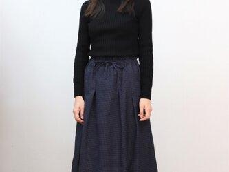 織り柄ピンドット タックギャザースカート( ネイビー×ホワイト )の画像