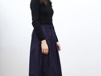 織り柄ピンドット タックギャザースカート( ネイビー×レッド )の画像